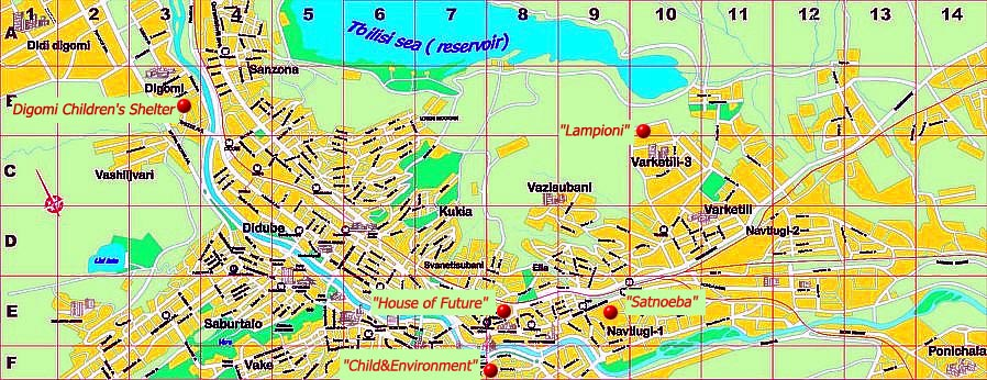The GENESIS Association-Map of charity activities in Tbilisi Tbilisi Map